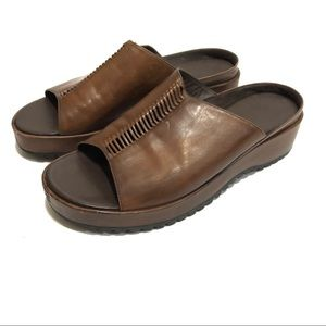 Cole Haan Brown Leather Slides Sandals